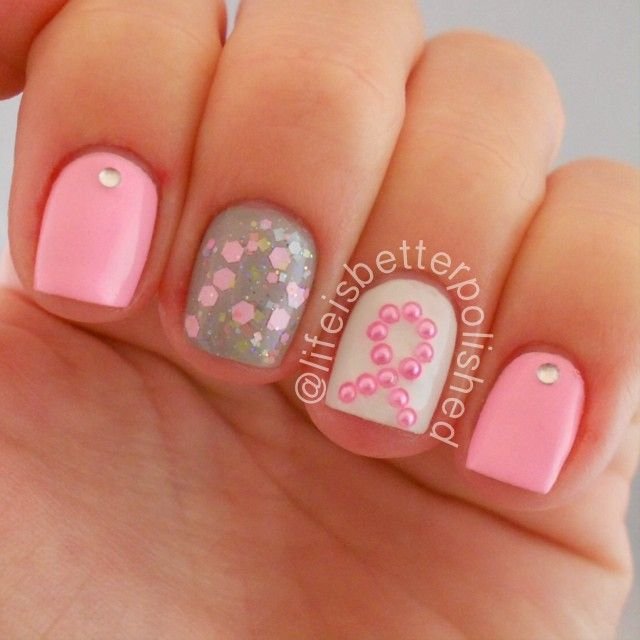 113 best breast cancer awareness nail design images on pinterest in absolute love with these breast cancer awareness nails prinsesfo Gallery