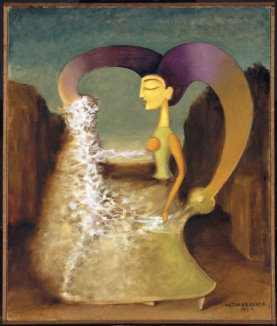 """Héron d'Alexandrie"" 1939 par Victor Brauner (1903-1966) peintre français d'origine roumaine ==> https://fr.wikipedia.org/wiki/Victor_Brauner"