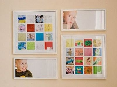 Scan and shrink your kids fave artwork, then fit them into cute collages and frame!