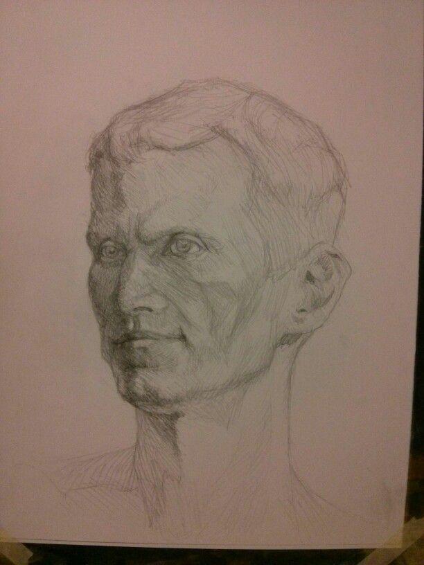 man study, graphite pencil