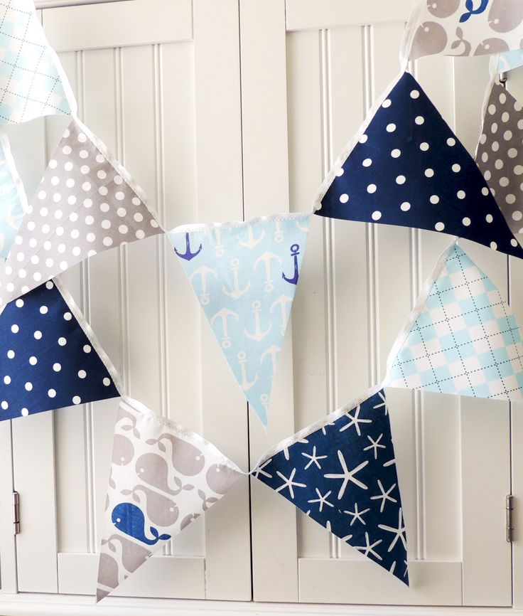 Nautical Baby Shower Banner Bunting Fabric by vintagegreenlimited, $17.00