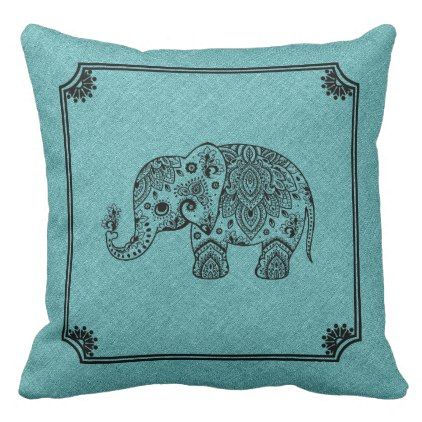 Light Blue Linen Print & Black paisley Elephant Throw Pillow - animal gift ideas animals and pets diy customize