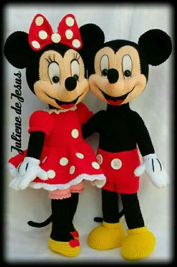 Christmas Ornament Mickey and Minnie Mouse Christmas tree crochet pattern   852x565