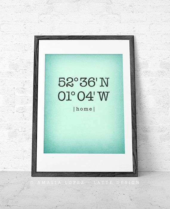 Souvenir, man kan få den custom made 126 kr - Custom Latitude and Longitude print Mint wall art House warming gift Personalized home location print Mint poster Mint Mother's day gift UK
