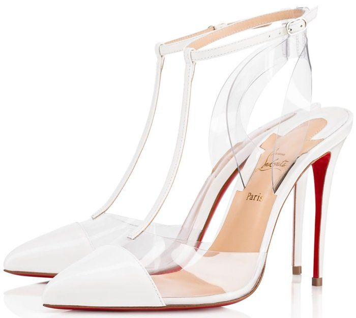 84f33a16e6b9 Christian Louboutin Nosy 100 patent-leather and PVC T-bar pumps in white