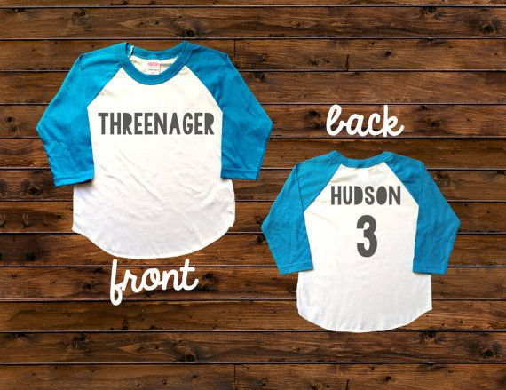 Threenager Birthday Tee - Perfect for the birthday boy!  Main listing photo shows black font for the design - but you can select from ANY of our font