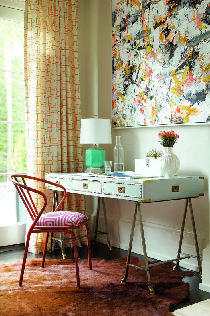 vintage chair in the fabric woven geocerise fan pleated draperies in the thom filicia fabric