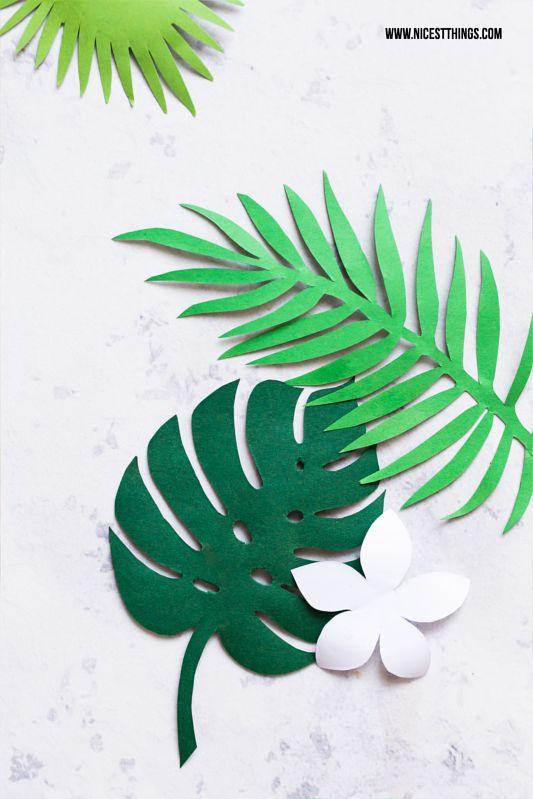 Printable Freebie Template Exotic Leaves Monstera Frangipani Palm Tree