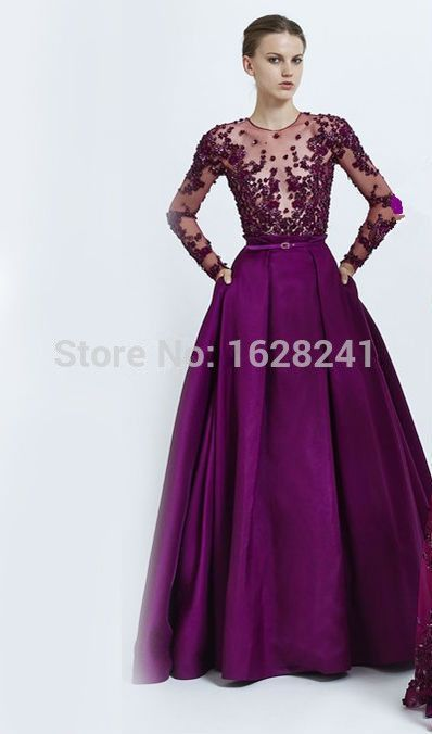 Find More Evening Dresses Information about Purple 2015 Fashion Zuhair Murad Evening Dresses Luxury O neck Sparkle Appliques Crystals Beaded Prom Gown dress formal party ,High Quality dress girl party,China dress cape Suppliers, Cheap party dress baby girl from True Love Bridal dress Co., Ltd.  on Aliexpress.com