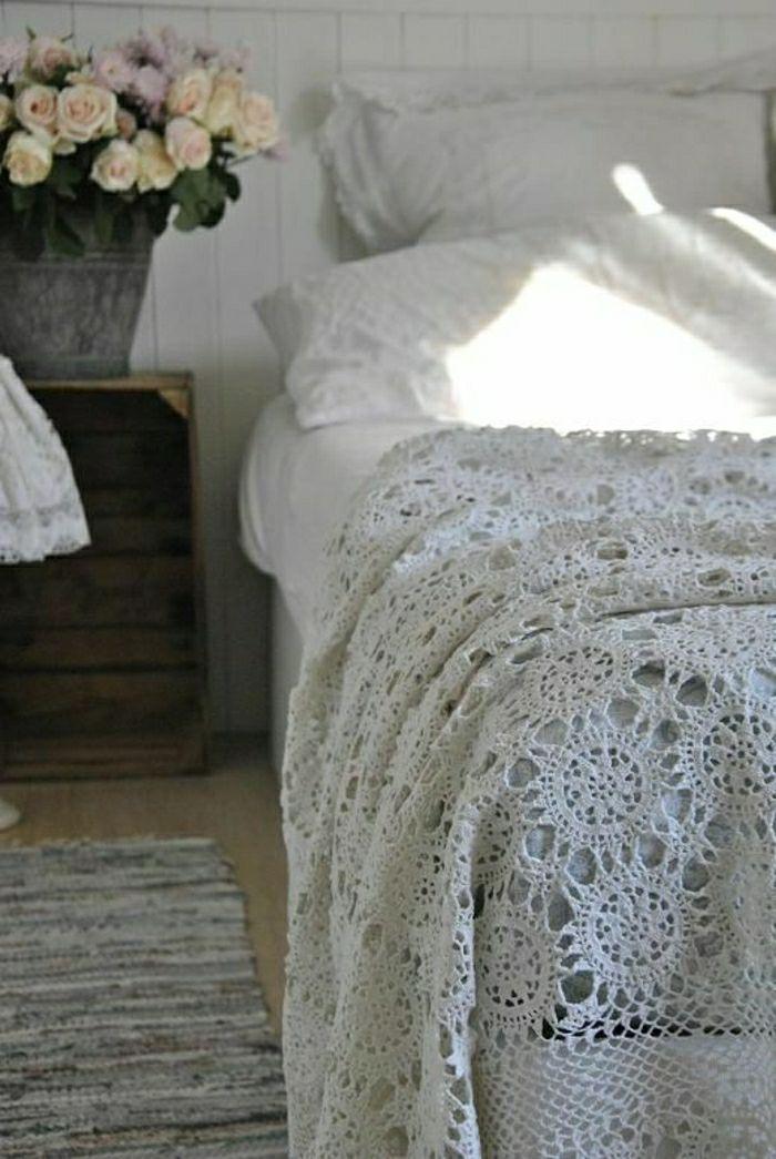 Decken häkeln in weiß ländliche gestaltung resized