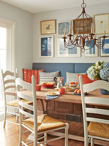 Paired with affordable chairs and an expandable table, this wall-spanning seating maximizes a cozy nook.