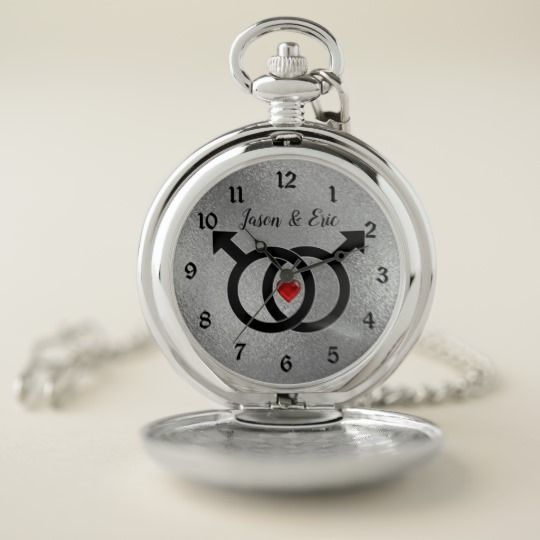 Gay Marriage Silver Pocket Watch