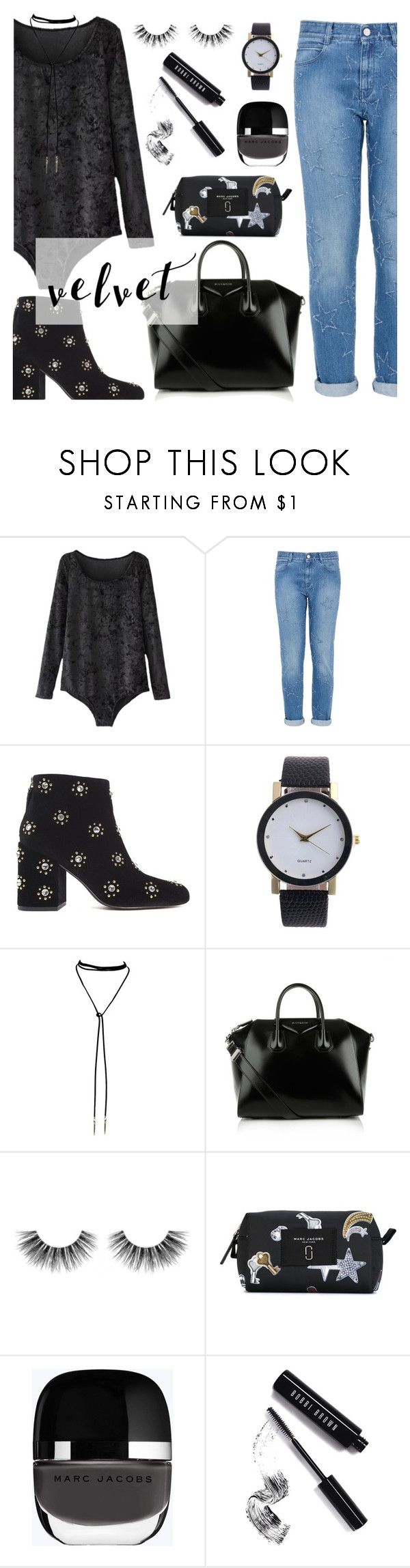 """""""Crushing on Velvet"""" by dora04 ❤ liked on Polyvore featuring STELLA McCARTNEY, Senso, Givenchy, Velour Lashes, Marc Jacobs and Bobbi Brown Cosmetics"""