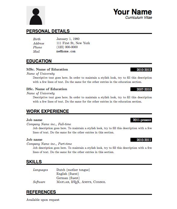 25 best ideas about Latex Resume Template – Basic Resume Templates