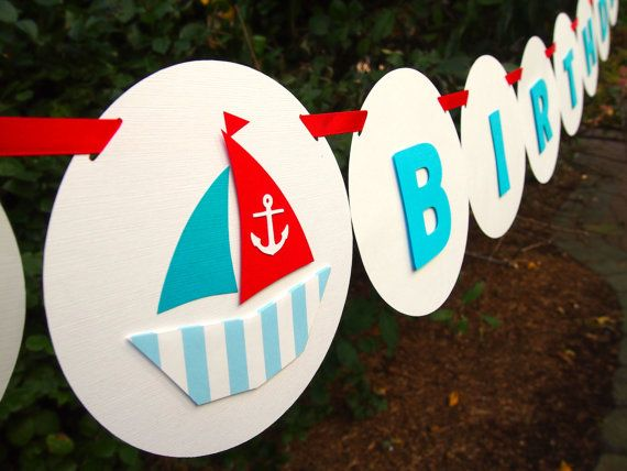 """Nautical Sailor Themed """"HAPPY BIRTHDAY"""" Banner: Perfect Banner for Boys' Birthday Parties on Etsy, $31.95"""