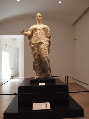 Sicily - Statue of Athena from ancient Greek city of Morgantina - Formerly at Getty Center in Los Angeles. Now in new museum in Aidone, Sicily.