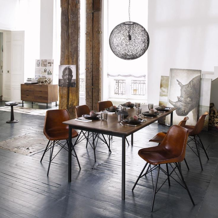 Vintage-Stuhl Leder Braun AUSTERLITZ maison du monde