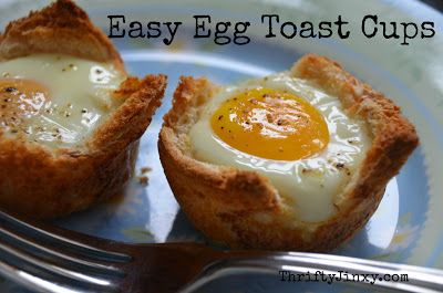 Thrifty Jinxy: Breakfast Recipe: Easy Egg and Toast Cups! - A simple way to make breakfast for one or for a crowd!