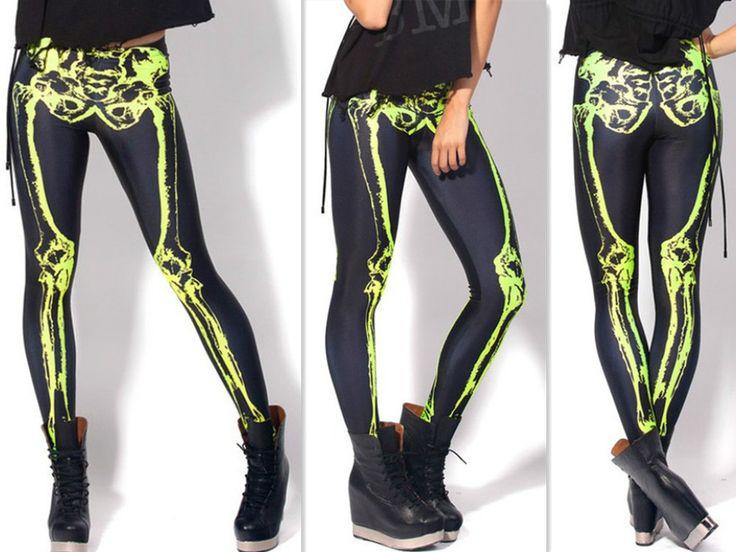 Skeleton LEG Bones Digital Print Neon Yellow LEGGINGS