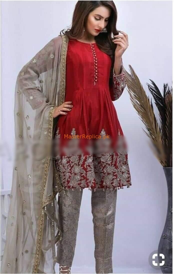 b15ca07b65 Fabric: Chiffon Embroidered Chiffon Shirt Front Embroidered Daman  Embroidered Chiffon Sleeves Embroidered Net Dupatta Jamawar Trousers  Included