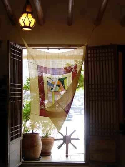 Korean bojagi textile used as curtain - this is so pretty!