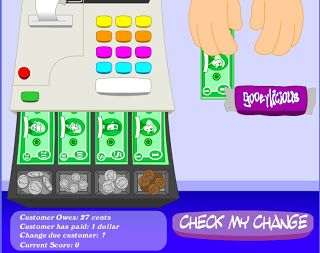 """Making Change""  This game asks you to make change, given the amount given vs. the amount owed.  Win points for correct answers!"