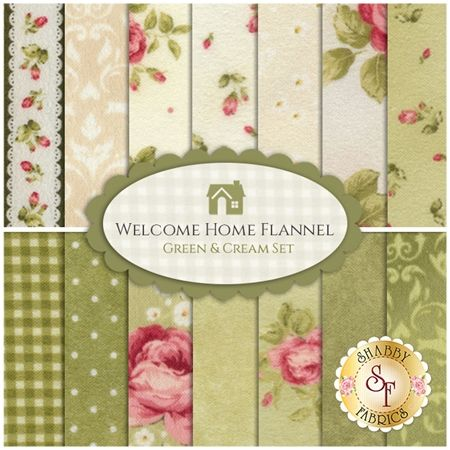 Welcome Home Flannel 14 FQ Set - Green