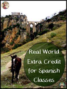 Real World Extra Credit for Spanish Students, Free Lesson Ideas for Spanish Teachers, La Profesora Frida blog gust blogger Srta Elizabeth, Credito Extra, Realia, Real World Homework