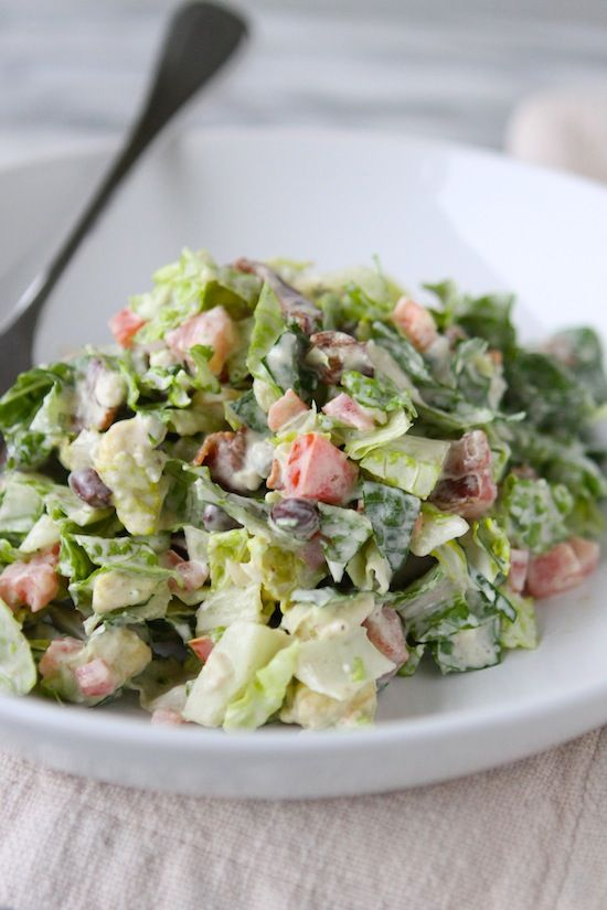 Yummo!! this may be a good candidate for the salad to make for the day of camping set up....but together right before we leave and put in the cooler to have after tents are set up! California Club Blue Cheese Chopped Salad from www.laurenslatest.com