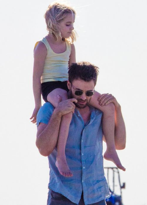 "Chris Evans and McKenna Grace on the set of ""Gifted""."