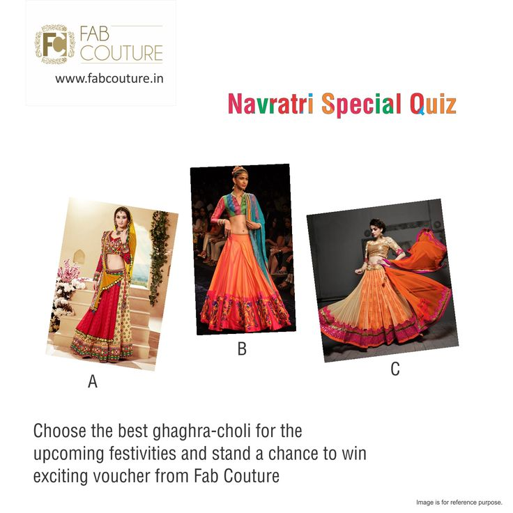 Fab Couture wishes every one HAPPY NAVRATRI. To celebrate this auspicious occasion, here is a quiz contest for you all. Share the post and give right answer to win exciting prizes this Navratri! Rules are very simple: Answer in comments. Share the post. Answer all questions coming up and stand a golden chance to win the exciting prize from Fab Couture! So what are you waiting for? Hurry! Get Set Go!! #FabCouture #LuckyDraw #Contest #DesignerDresses #Fabric #Fashion #DesignerWear #ModernWome