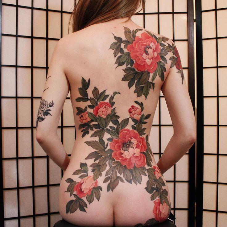 Jinpil Yuu peony back piece tattoo