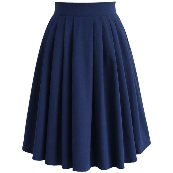Chicwish Chic Basic Pleated Skirt in Navy ($42) ❤ liked on Polyvore featuring skirts, blue, navy pleated skirt, blue midi skirt, navy knee length skirt, blue pleated skirt and mid calf skirts