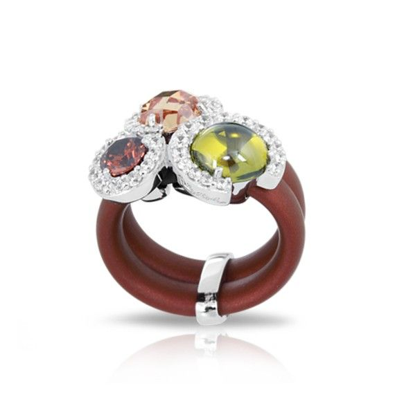 Belle Etoile - Element Brown Ring with Colorful Stones. www.pollocksjewelers.com