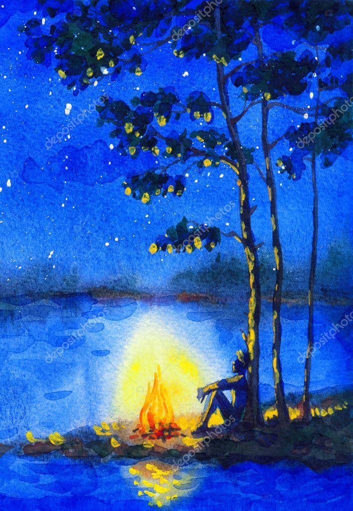Watercolor Night Landscape Bonfire By The River Stock Photo Affiliate Landscape Night Waterc Night Landscape Mandala Design Art Landscape Paintings