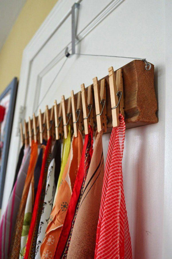 Nice idea for a scarf holder using clothes pins @istandarddesign
