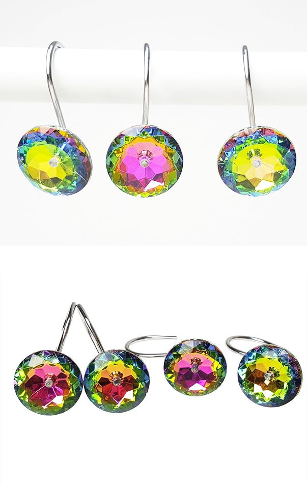 Rainbow Iridescent Rhinestone Crystal Diamond Shower Curtain Hooks