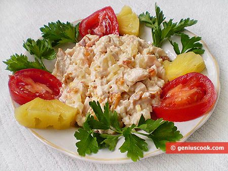 Smoked Chicken and Pineapple Salad | Meat Dishes | Genius cook - Healthy Nutrition, Tasty Food, Simple Recipes
