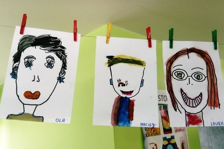 rysunek i akwarelka, portret Mamy,dzieci w wieku 5 lat, piękne prace :)