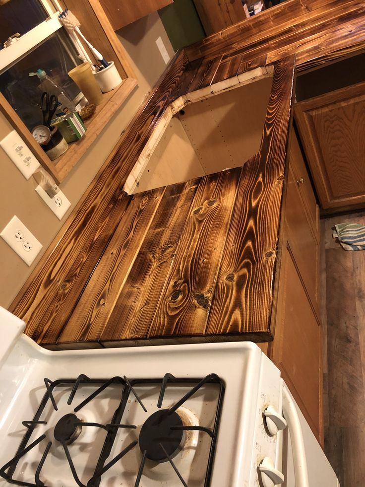 kitchen wood countertops burnt counter cabinets interior rustic projects