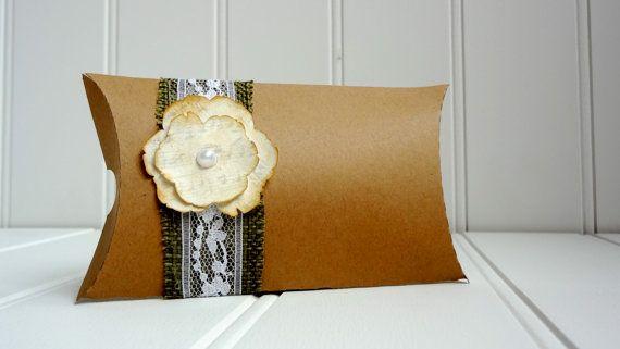 50 Vintage Kraft Pillow Favor Boxes with Burlap by ThePaperBazaar, $87.21