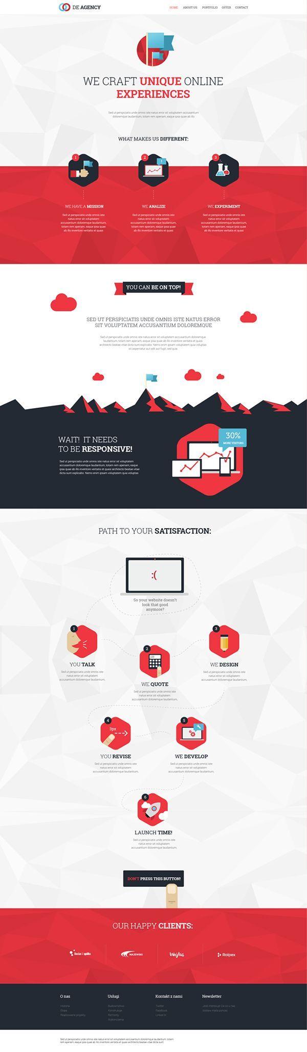 De Agency - Flat UI design concept by Kuba Zelichowski, via Behance
