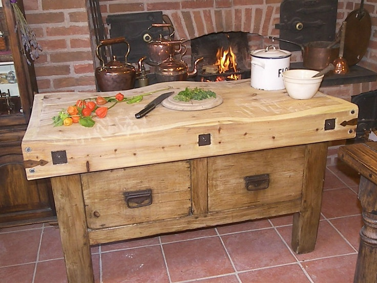 Chopping table with butchers block