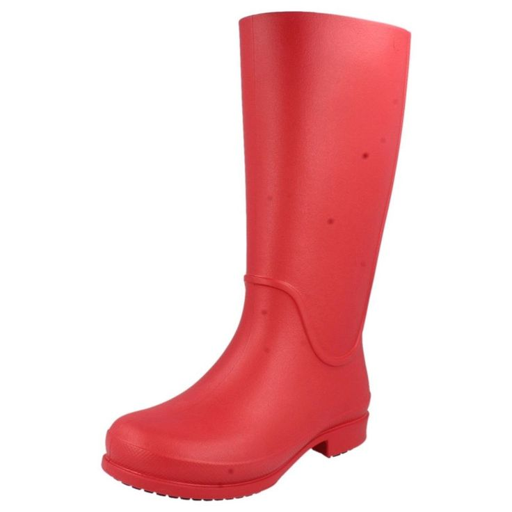 Crocs stivali da pioggia donna stile pull on Rosso Sintetico IN GOMMA
