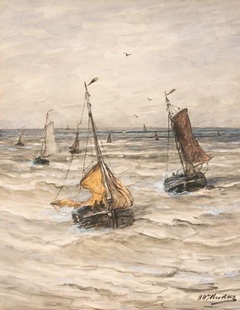 Hendrik Willem Mesdag (1831-1915) - Bringing in the catch - watercolour and gouache on paper laid down on paper