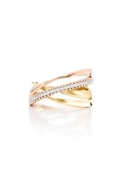 Anel em Ouro Amarelo E Vermelho 18K com Diamante-Jackie - montecarlo mobile                                                                                                                                                      Mais