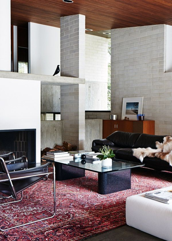 designed by Harry Seidler in 1972. Marcel Breuer Wassily Lounge Chairs, Vico Magistretti Maralunga sofa, Harry Seidler coffee table (designed especially for the house), B Italia slab sofa.  Photo – Sean Fennessy, production – Lucy Feagins / The Design Files.