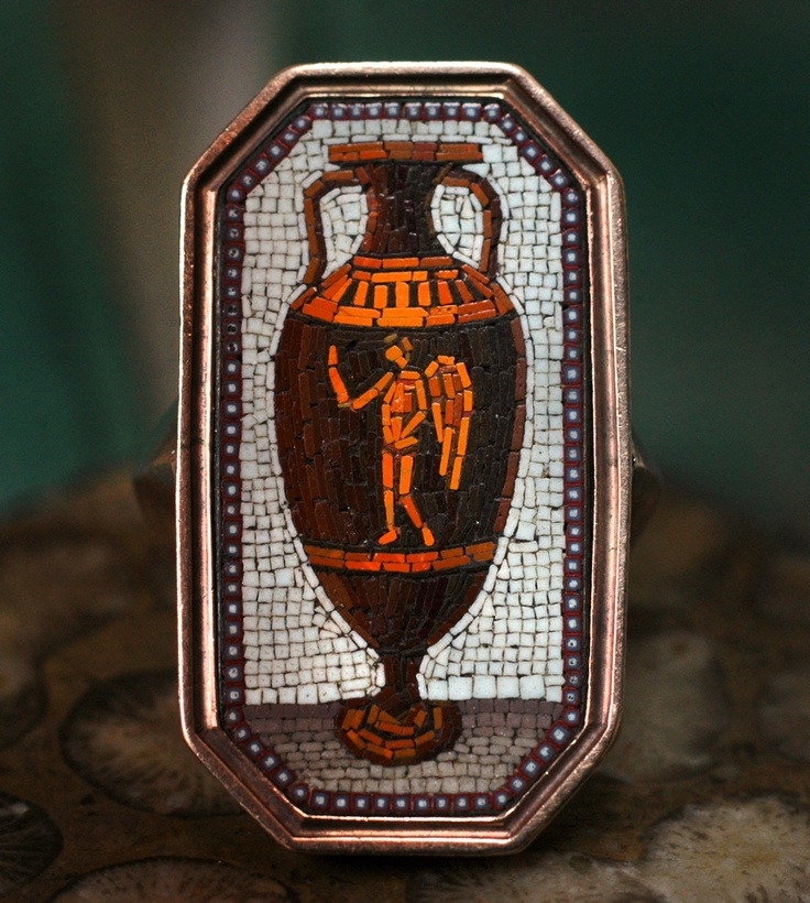 18th Century Micromosaic Amphora Ring via erie basin tumblr