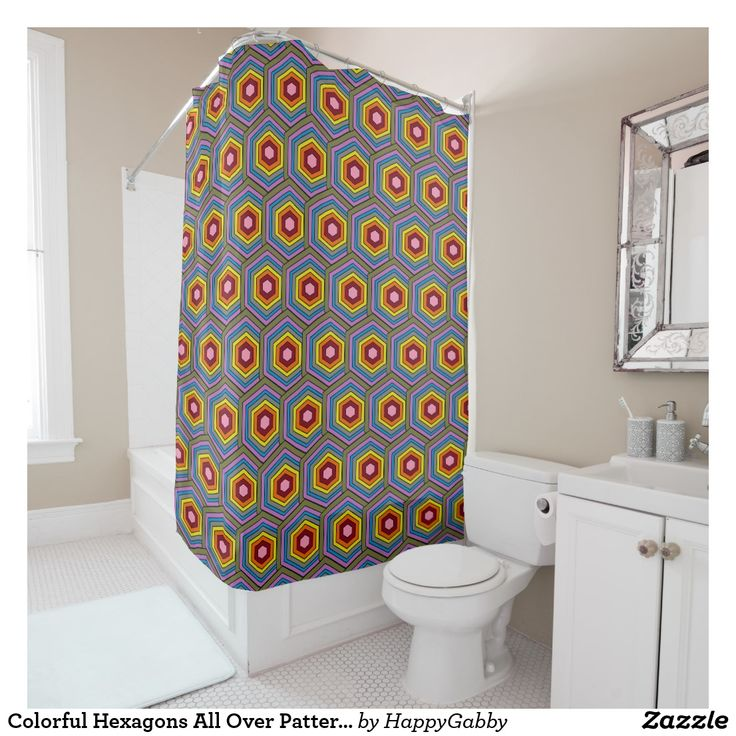 Colorful Hexagons All Over Pattern Fun Shower Curtain