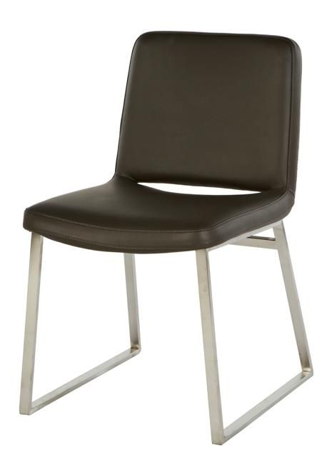 GlobeWest - Elle Matt Stainless Steel Dining Chair (Leather)